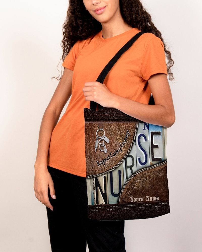 Respect caring courage custom name tote bag 10
