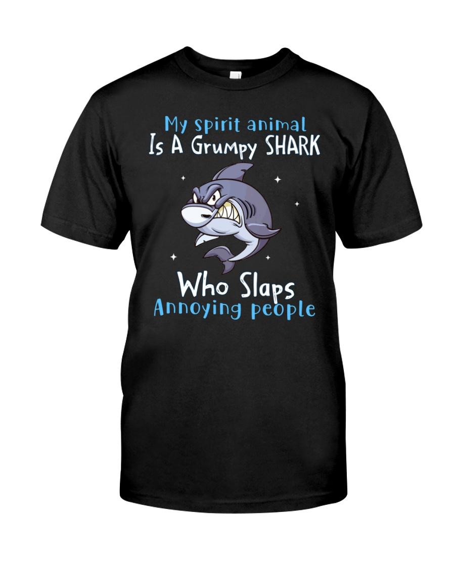 Shark My Spirit Animal is a Grumpy Shark who Slaps Annoying People Shirt 13