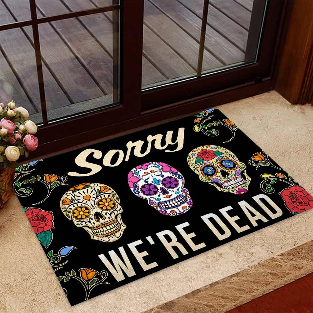 Skull coloful sorry we're dead doormat 7