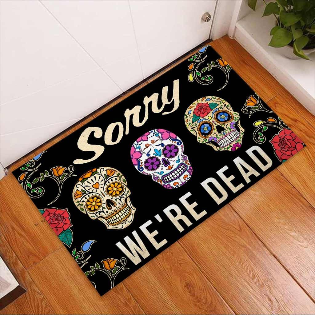 Skull coloful sorry we're dead doormat 9
