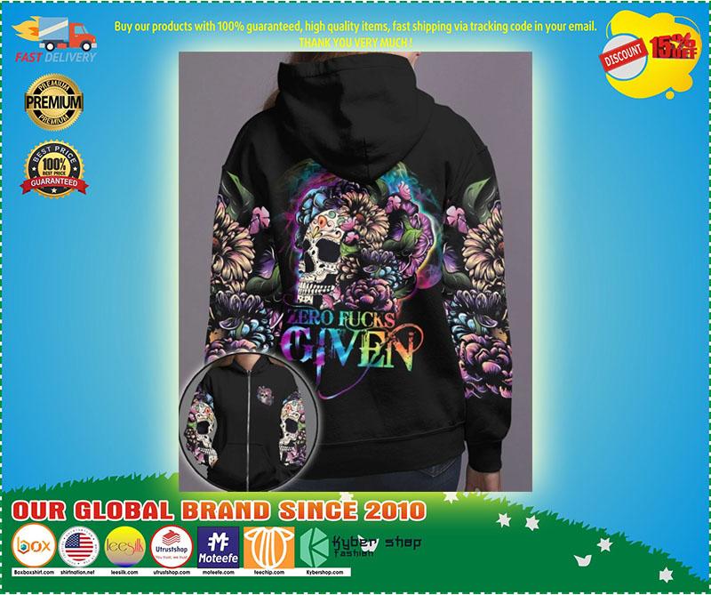 Skull floral zero fucks given 3D hoodie 11