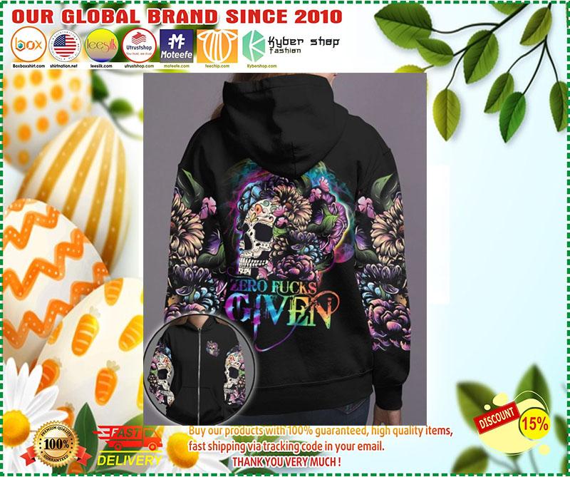 Skull floral zero fucks given 3D hoodie 10