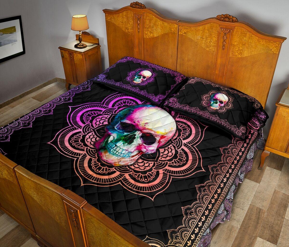 Skull mandala color quilt bedding set 10