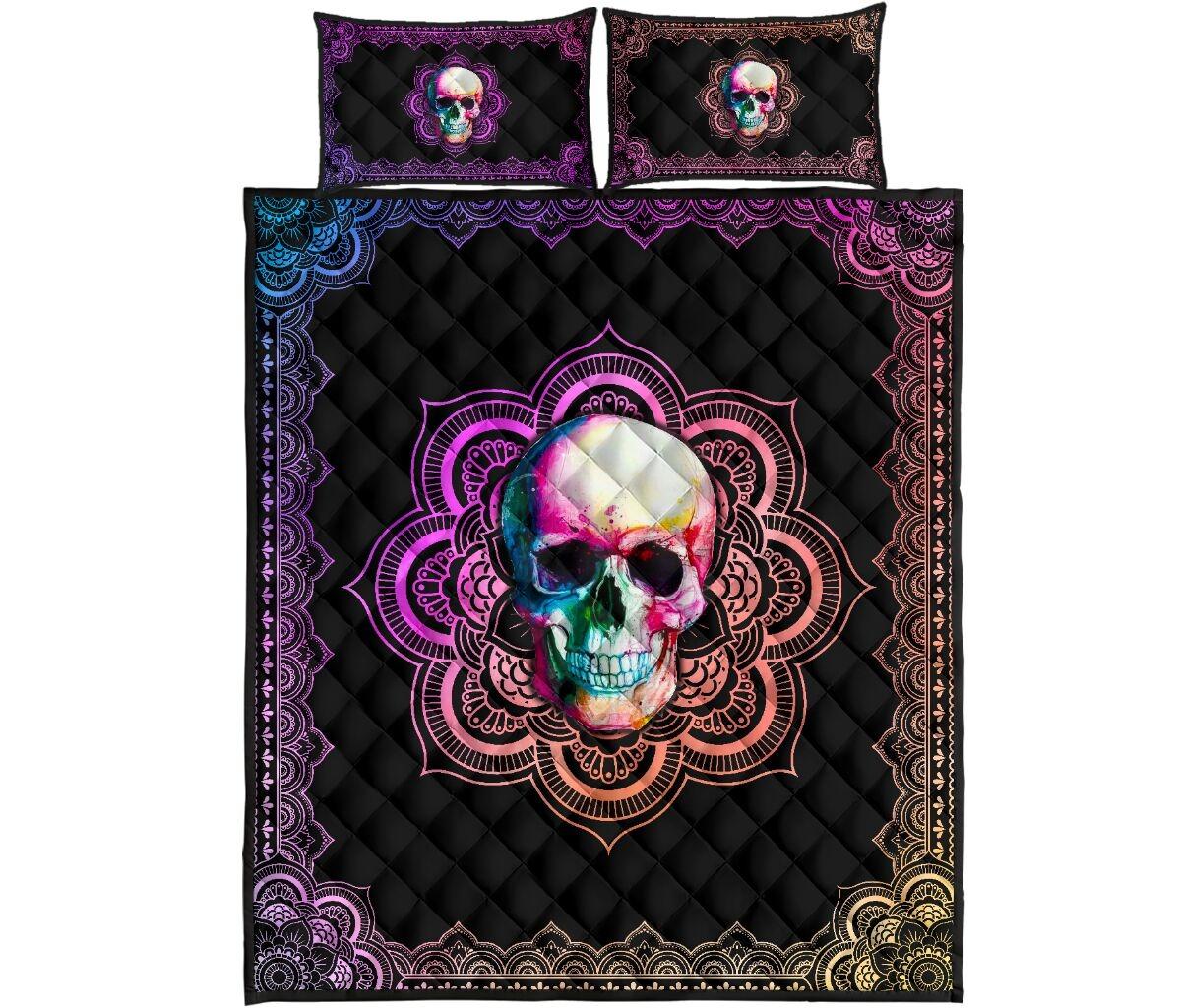 Skull mandala color quilt bedding set 11