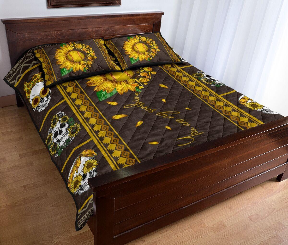 Soflball sunflower quilt bedding set 5
