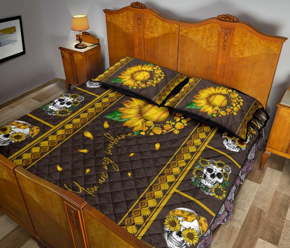 Soflball sunflower quilt bedding set 6