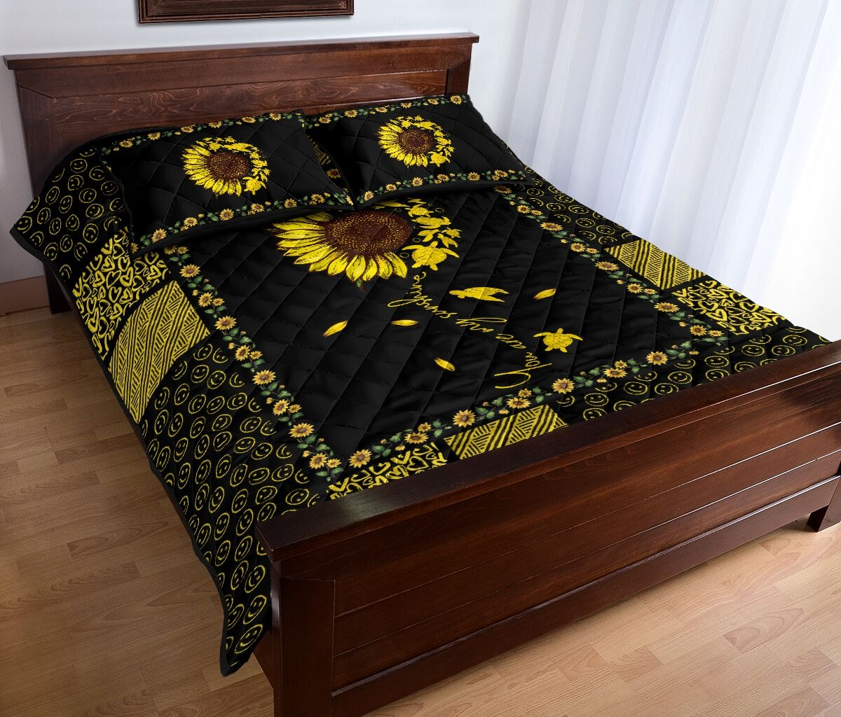 Sunflower sunshine turtle quilt bedding set 9