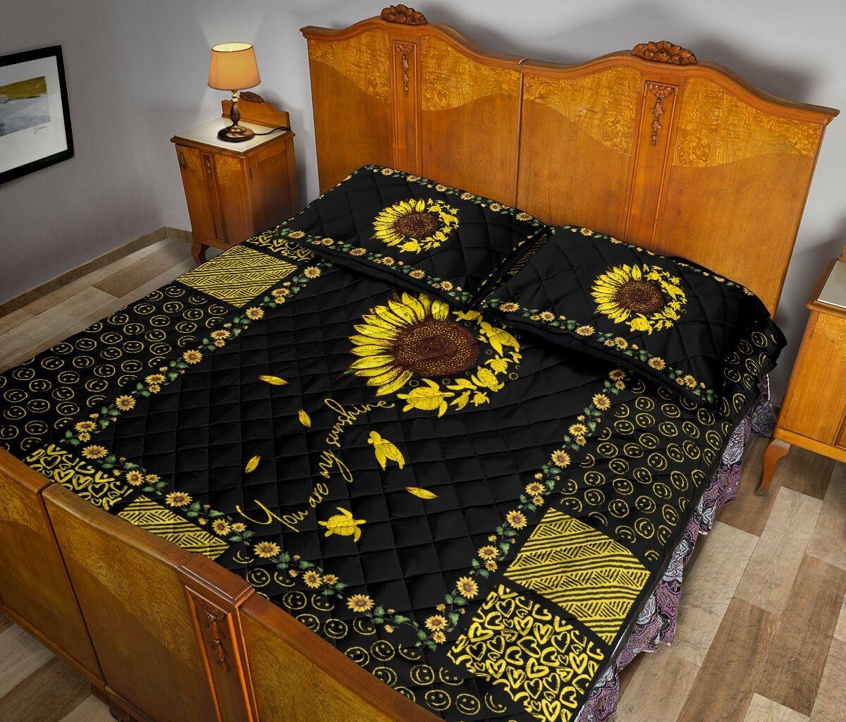 Sunflower sunshine turtle quilt bedding set 11