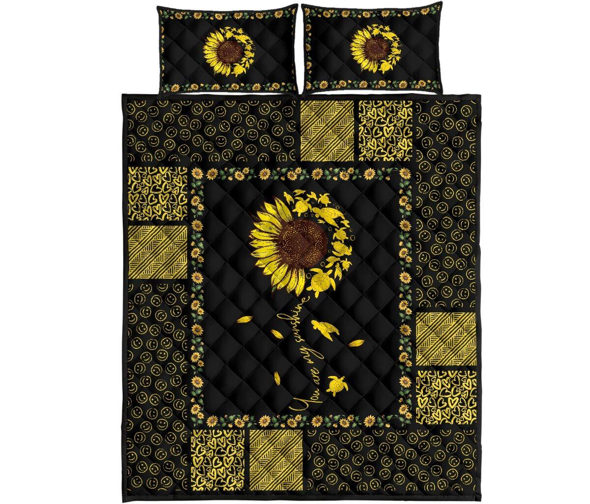 Sunflower sunshine turtle quilt bedding set 10