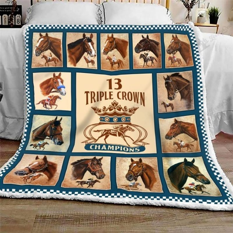 Triple crown of champions horse quilt bedding set 11
