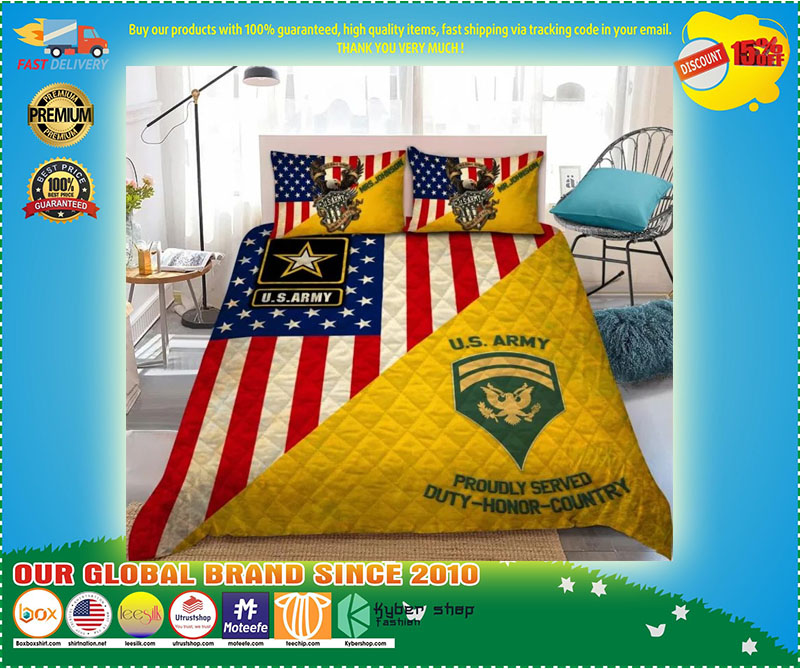 Us army proudly served duty honor country bedding set 9