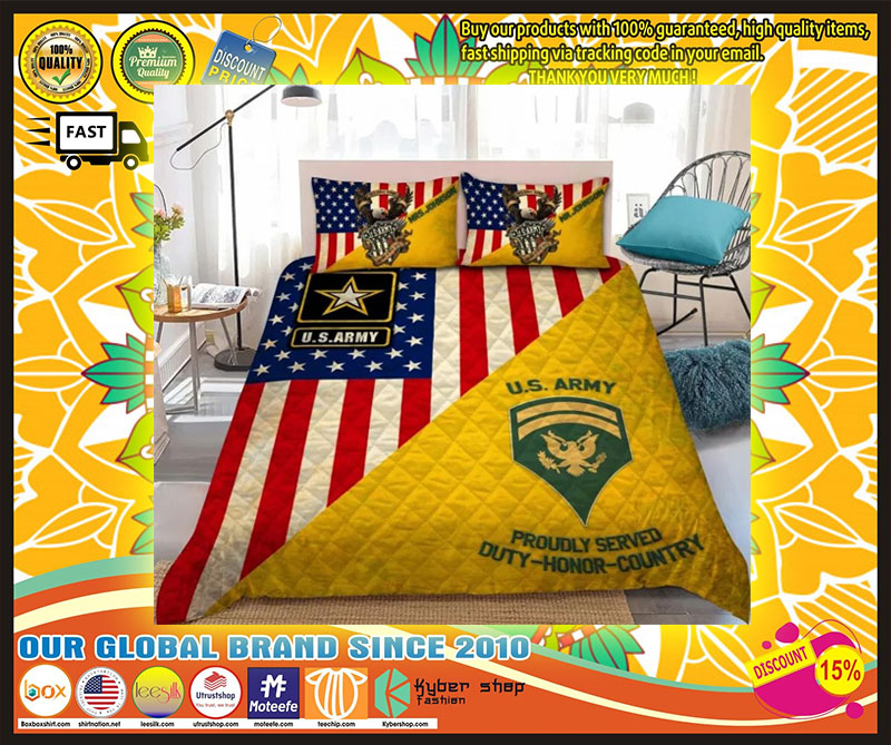 Us army proudly served duty honor country bedding set 11
