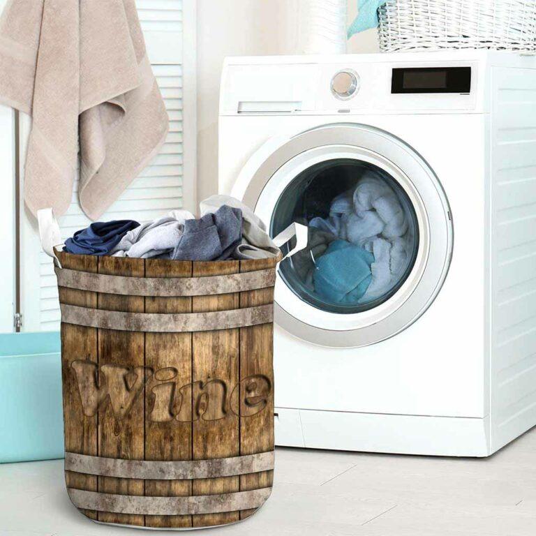 Wine faux wood print basket laundry 8
