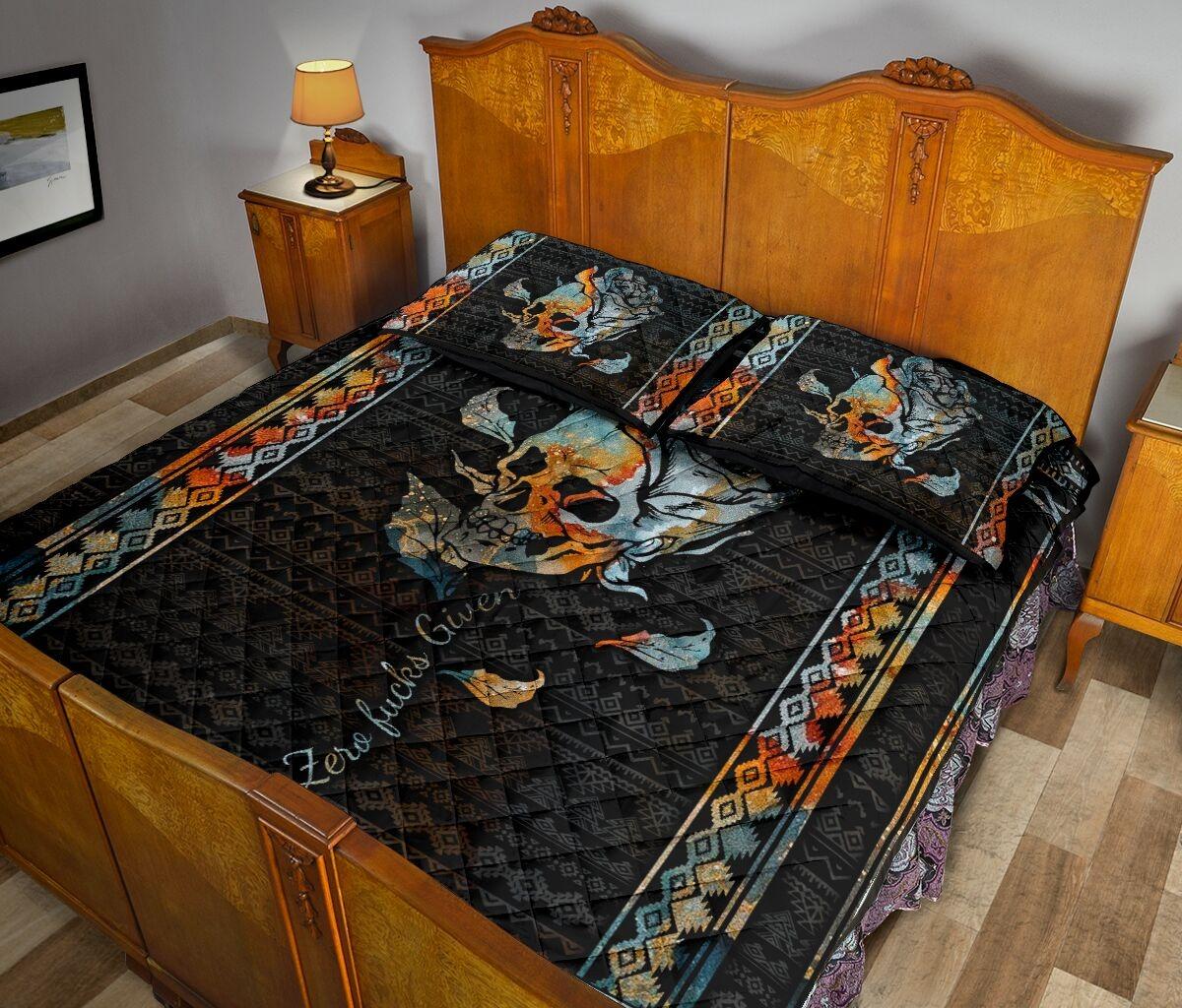Zero fucks given quilt bedding set 10
