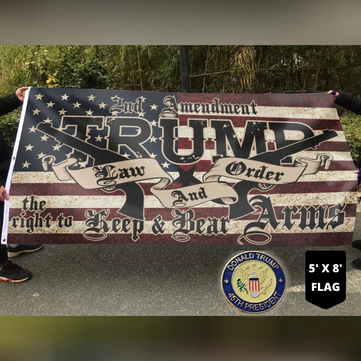 2nd amendment Trump law and order the right keep and bear arms flag 9