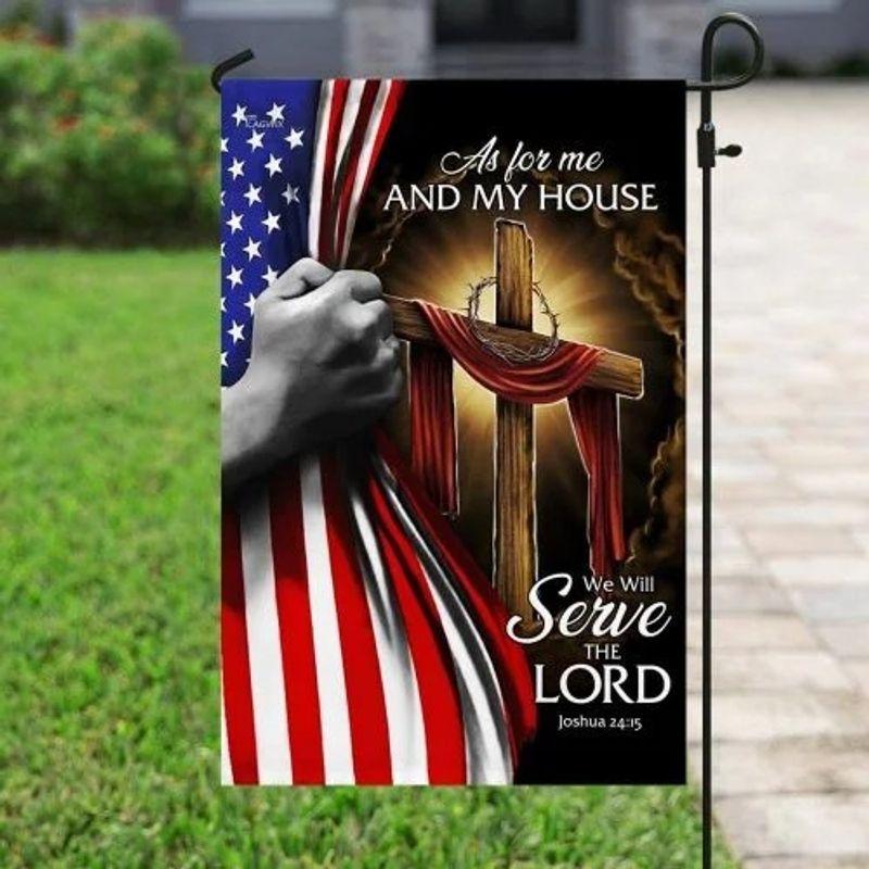 American Faith cross as for me and my house flag 11