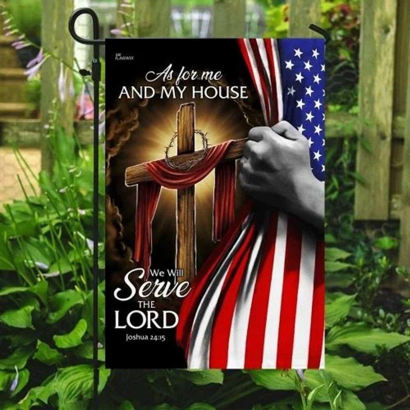 American Faith cross as for me and my house flag 10