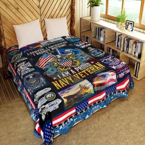 American flag I am a proud Navy veteran quilt bedding set 4