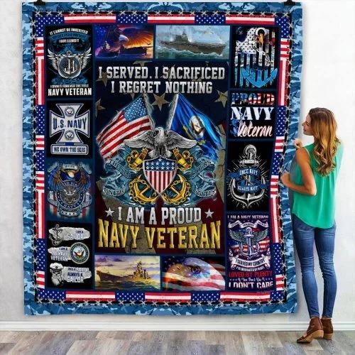 American flag I am a proud Navy veteran quilt bedding set 3
