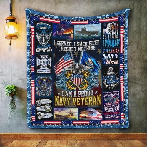 American flag I am a proud Navy veteran quilt bedding set 2