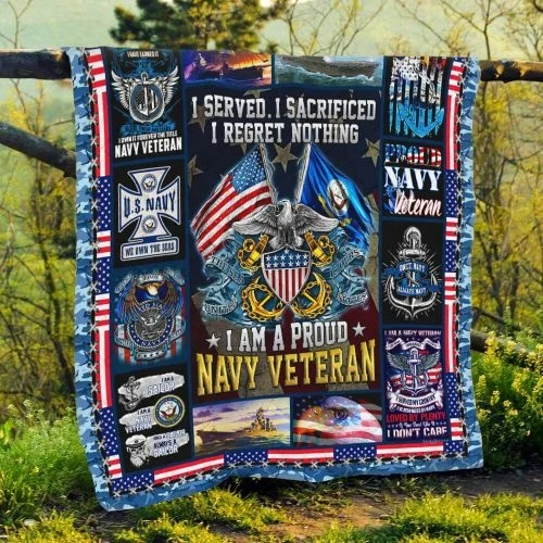 American flag I am a proud Navy veteran quilt bedding set 1