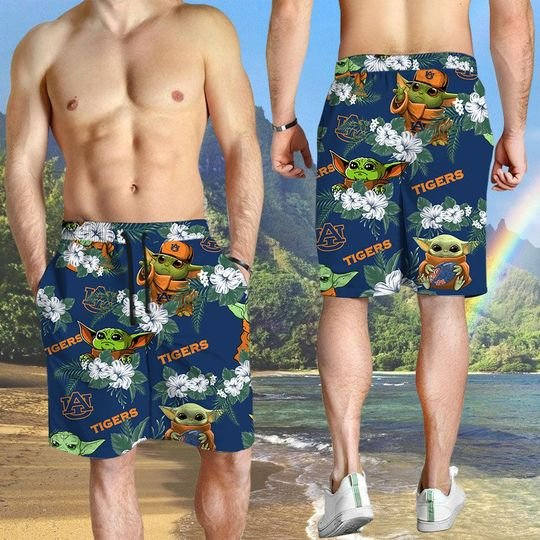 Auburn Tigers And Yoda Hawaiian And Beach Short 4
