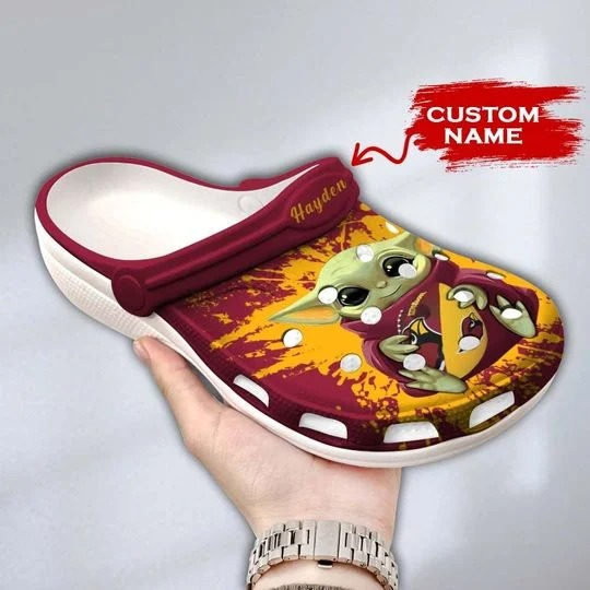 Baby Yoda Arizona Cardinals custom name crocs crocband clog 1