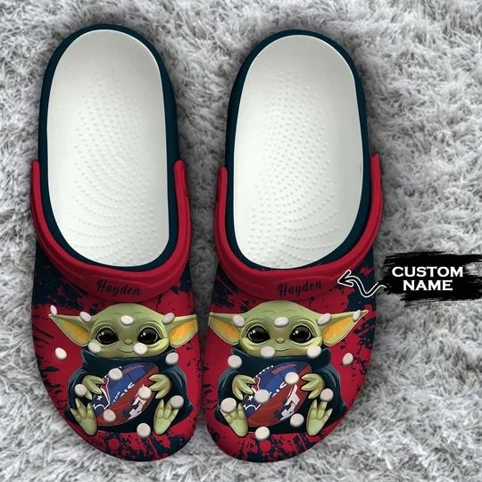 Baby Yoda Houston Texans custom name crocs crocband clog