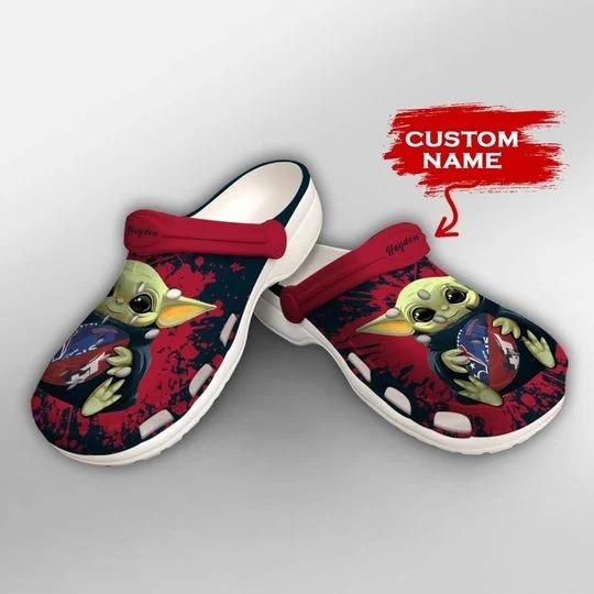 Baby Yoda Houston Texans custom name crocs crocband clog 2