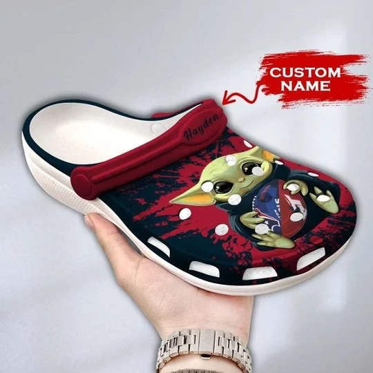 Baby Yoda Houston Texans custom name crocs crocband clog 1