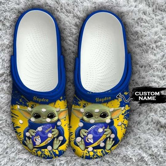 Baby Yoda Los Angeles Rams custom name crocs crocband clog
