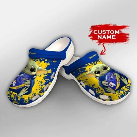 Baby Yoda Los Angeles Rams custom name crocs crocband clog 2