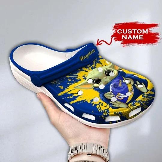 Baby Yoda Los Angeles Rams custom name crocs crocband clog 1