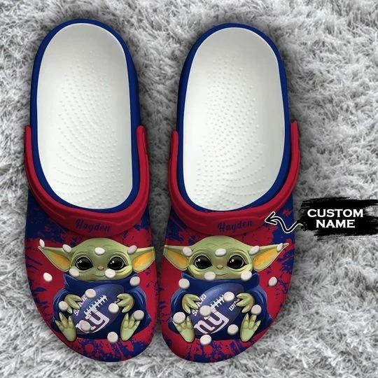Baby Yoda New York Giants custom name crocs crocband clog