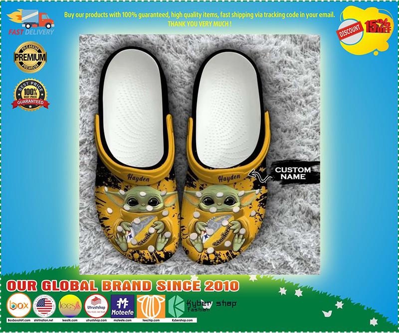 Baby Yoda Pittsburgh steelers custom name crocs crocband clog 10