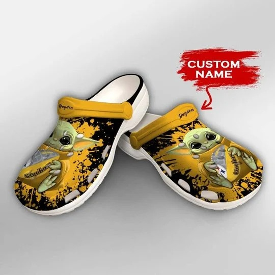 Baby Yoda Pittsburgh steelers custom name crocs crocband clog 1