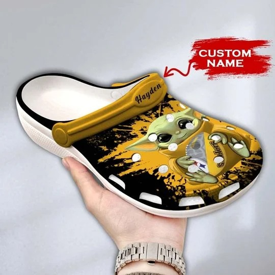 Baby Yoda Pittsburgh steelers custom name crocs crocband clog