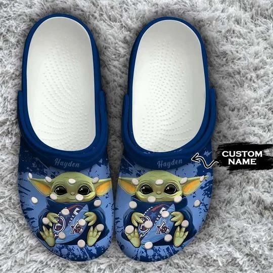 Baby Yoda Tennessee Titans custom name crocs crocband clog