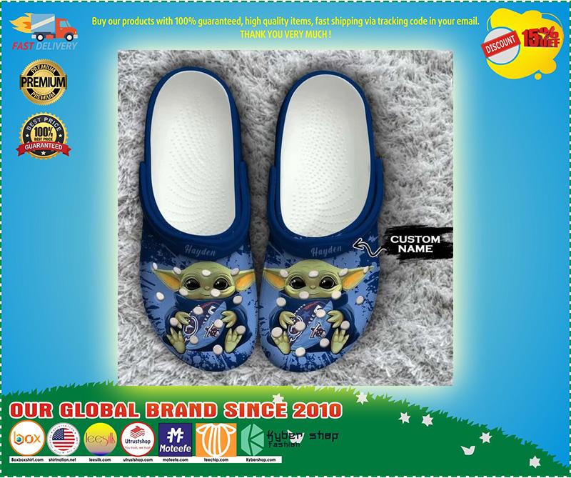 Baby Yoda Tennessee Titans custom name crocs crocband clog 10
