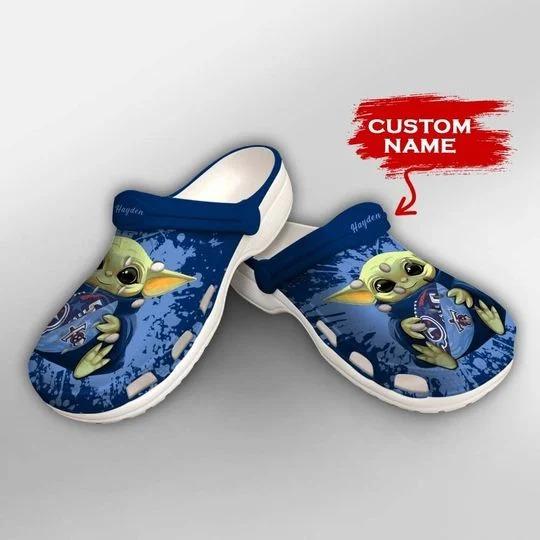 Baby Yoda Tennessee Titans custom name crocs crocband clog 2