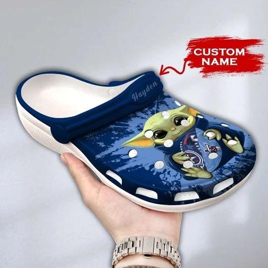 Baby Yoda Tennessee Titans custom name crocs crocband clog 1