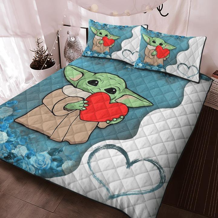 Baby Yoda heart flower quilt bedding set 9