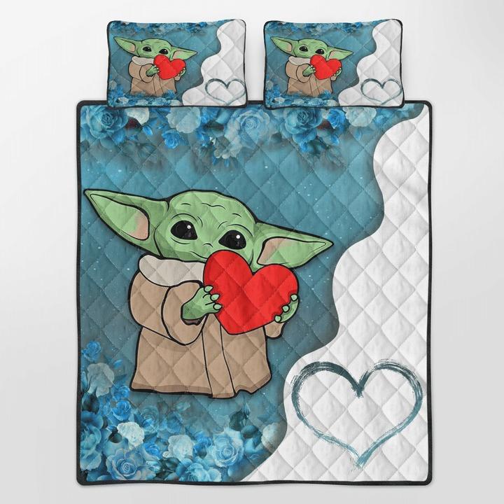 Baby Yoda heart flower quilt bedding set 10