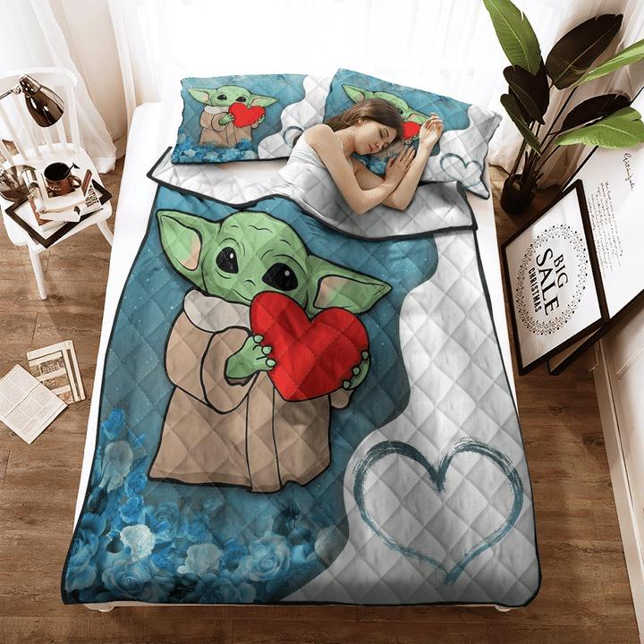 Baby Yoda heart flower quilt bedding set 11