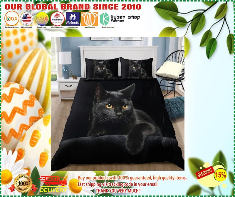 Black cat on the night bedding set 9