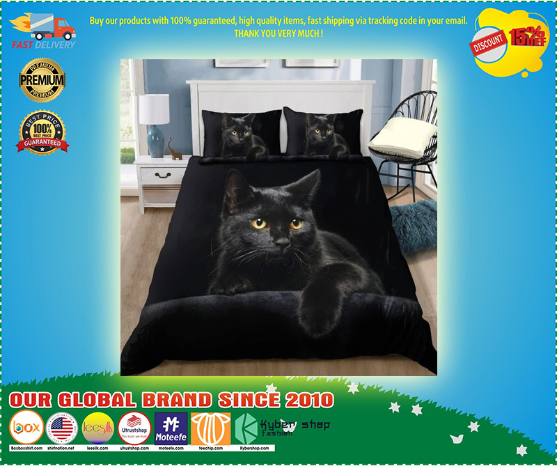 Black cat on the night bedding set 11