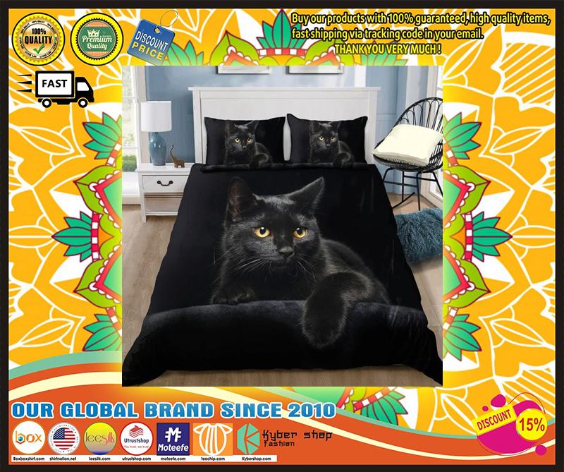 Black cat on the night bedding set 10