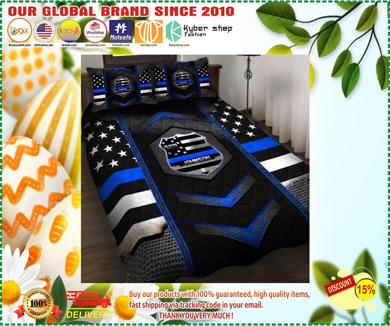 Blue police badge custom name quilt bedding set 10