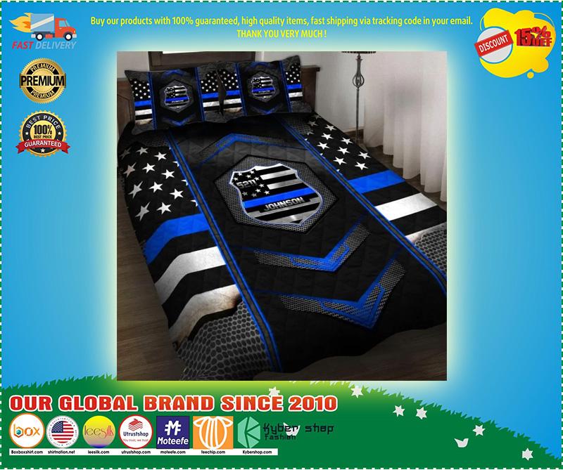 Blue police badge custom name quilt bedding set 11