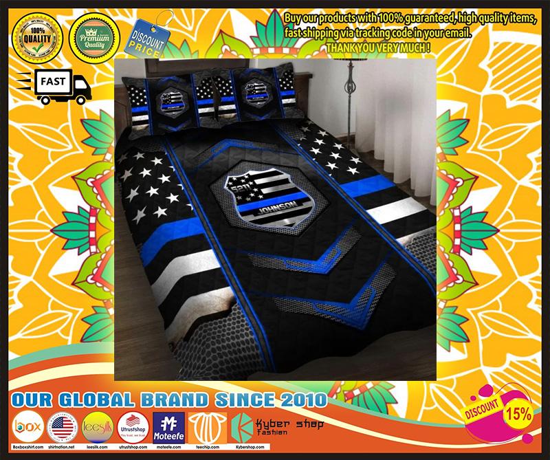Blue police badge custom name quilt bedding set 9